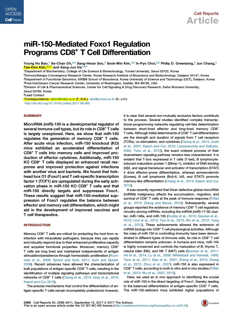 miR-150-mediated Foxo1 regulation programs CD8+ T-cell differentiation