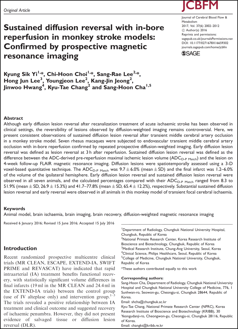 Sustained diffusion reversal with in-bore reperfusion in monkey stroke models - -ed by prospective magnetic resonance imaging