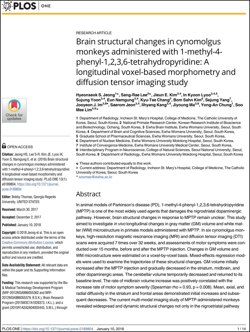 Brain structural changes in cynomolgus monkeys administered with 1-methyl-4-phenyl-1,2,3,6-tetrahydropyridine. a longitudinal voxel-based morphometry and diffusion tensor imaging study