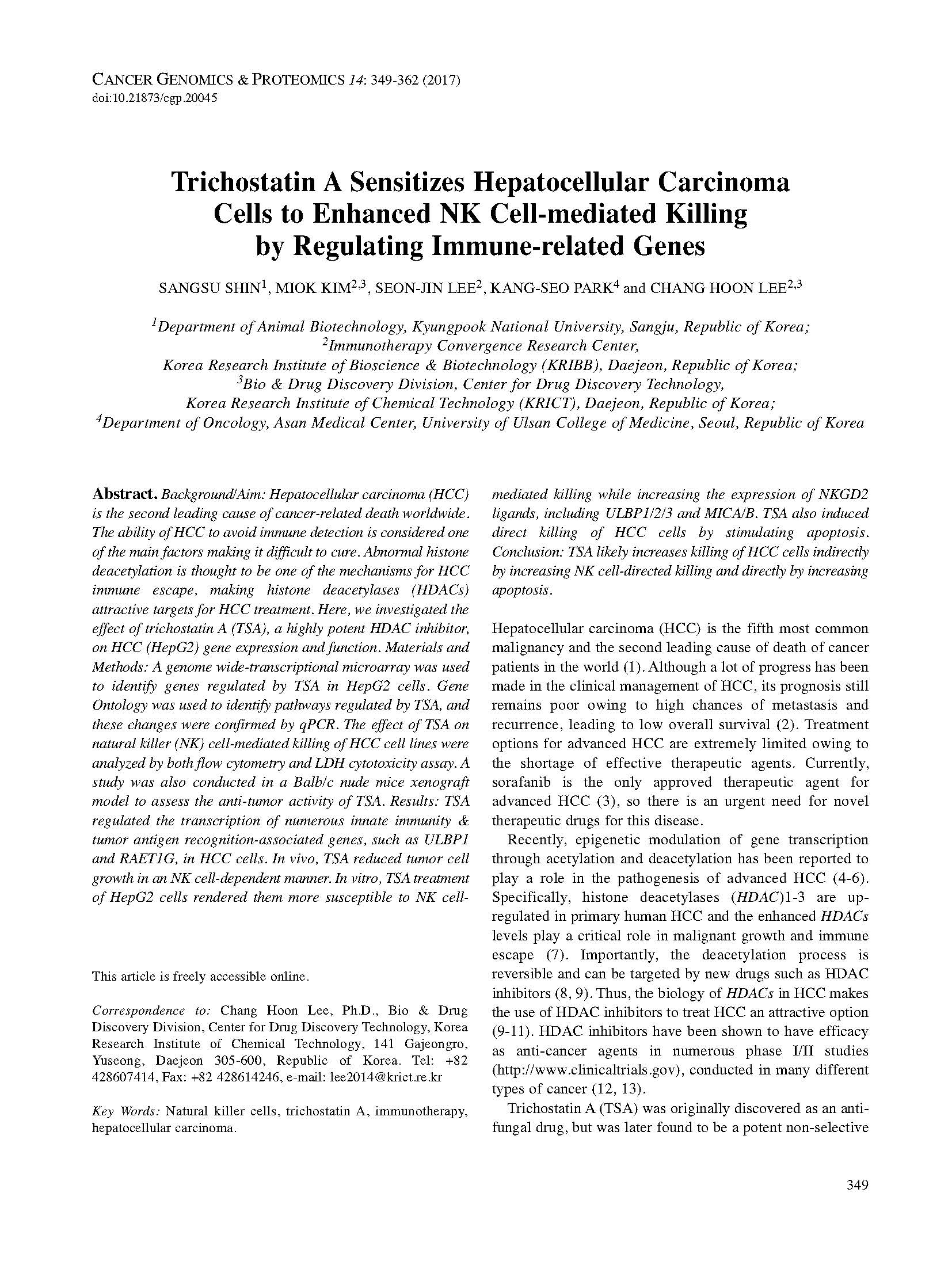 Trichostatin A Sensitizes Hepatocellular Carcinoma Cells to Enhanced NK Cell-mediated Killing by Regulating Immune-related Genes